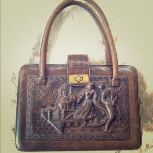 Handbags - Mexican hand tooled vintage brown leather purse